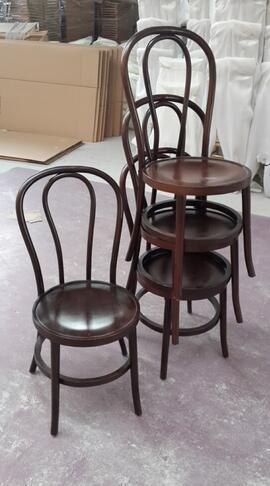 olaylar için vintage istiflenebilir bentwood düğün yemek sandalyeleri