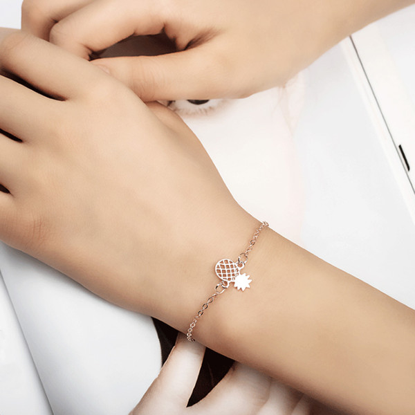 Cute Pineapple Shape Pendant Charm Bracelet for Women Girls Simple Chain Bracelets Rose Gold Silver Plated Fashion Jewelry Foot Chain