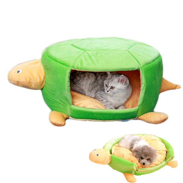Winter Pets Home Dog House Bed Sofa Cat Kennels Tortoise Shape Multifunction Mat for Small Medium Large Dogs Cute Foldable Warm