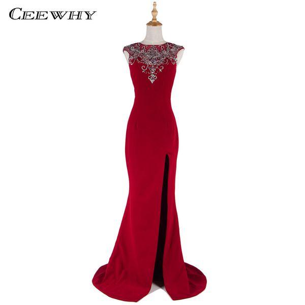CEEWHY Abendkleider Burgundy Mermaid Evening Dresses 2018 Crystals Beading Evening Gowns Backless Prom Dresses Vestido De Festa