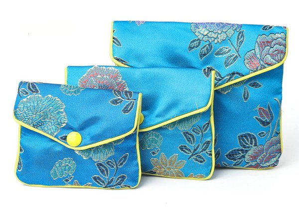 20pcs blue Floral Zipper Coin Purse Jewelry Silk Purse Pouch Gift Bag,Chrismas Easter Halloween New Year Wedding Birthday Party Gift Bag