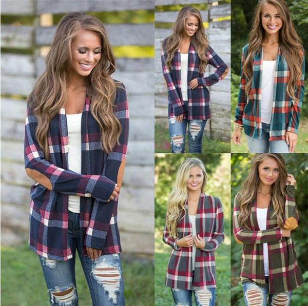 Women Shirts Plaid Blouses Pachwork T Shirt Print Cardigan Plaid Poncho Grid Tops Long Sleeve Outwears Women Fashion Clothing LM501