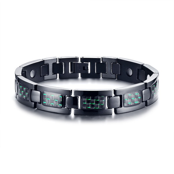 "Green Carbon Fiber Inlaid Stainless Steel Magnetic Link Bracelet 9"" Length Adjustble"