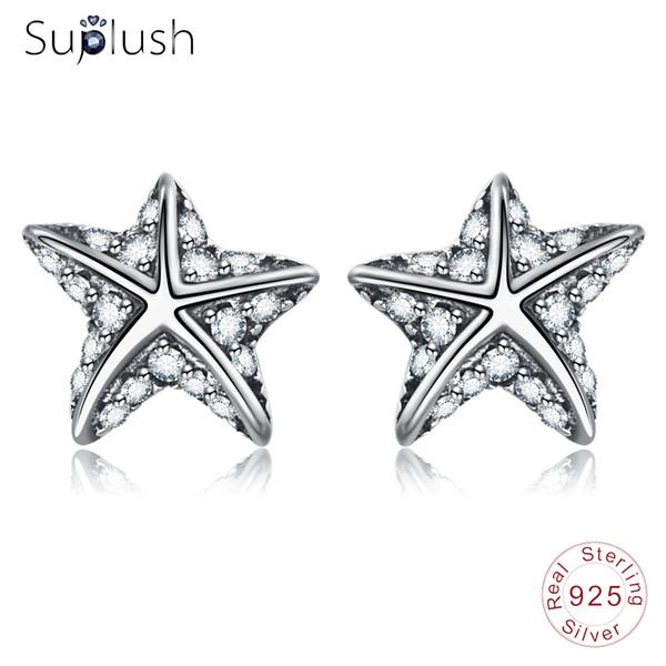 Suplush 100% 925 Sterling Silver Starfish Stud Boucles D'oreilles Avec Pave Zircon Bijoux Pour Femmes Mode Star Boucles D'oreilles De Noël Cadeau