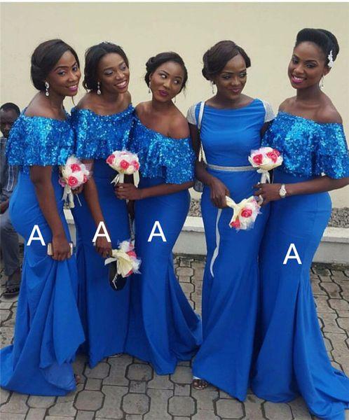 South African Blue Mermaid Brautjungfer Kleider 2019 Elegante Schulterfrei Pailletten Lange Trauzeugin Hochzeit Gast Abend Party Kleider