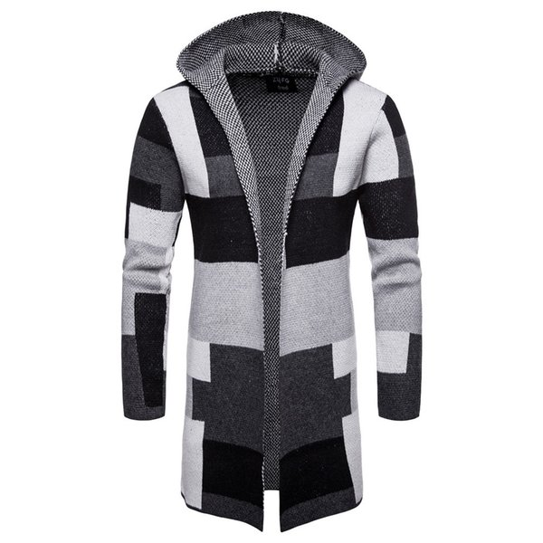 Loldeal Hombre Casual Frente abierta Bloque de color largo Suéter Cardigan Abrigo de punto con capucha