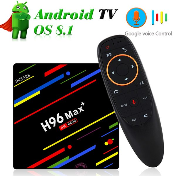 4GB 64GB TV Box Android 9.0 RK3328 Quad Core Google Voice Remote Smart Min PC 4G 32G Streaming Media Player 2.4G Wifi 4K 3D USB3.0 H96 Max+
