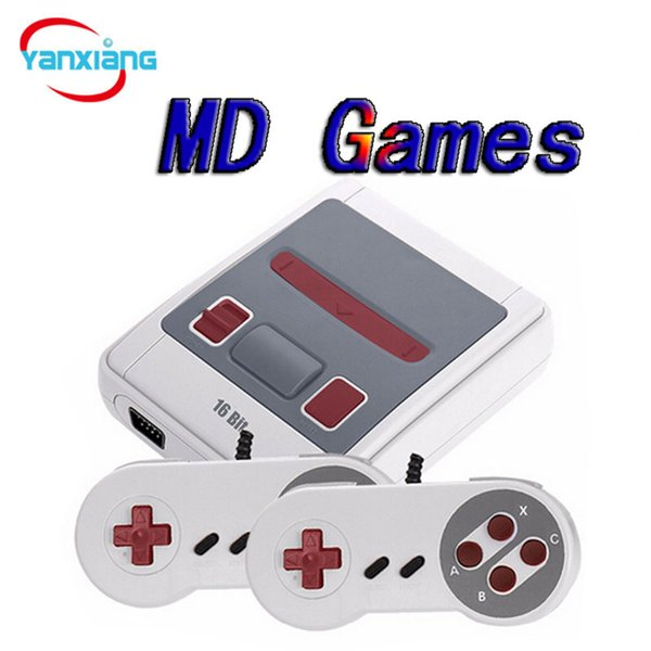 50PCS Wholesale 16Bit TV Video Handheld Game Consoles 2 Controllers Portable Game Players For Children Kids Support MD Games dhl YX-MD-01