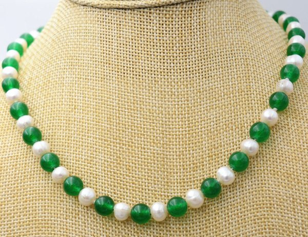 """7-8MM white Akoya Pearl /& Green Jade Necklace 18/"""""""