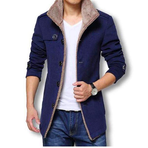 Abrigo largo de lana de invierno Chaquetas y abrigos de los hombres Slim Fit Chaqueta rompevientos de alta calidad Más el tamaño 2018 Chaqueta caliente de la venta