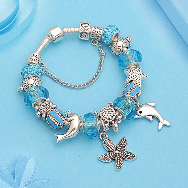 Casual Blue Crystal Wave Beads Bracelet 925 Silver Starfish Dolphin DIY Charm Bracelet Bangle Jewelry Pulsera Hombre