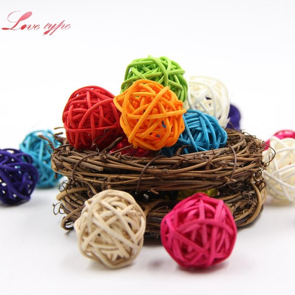 christmas 10PCS 3 Sizes Colorful Rattan Ball Ornaments Sepak Takraw Home Ornament /Birthday Wedding Party Kids Gifts Decorations