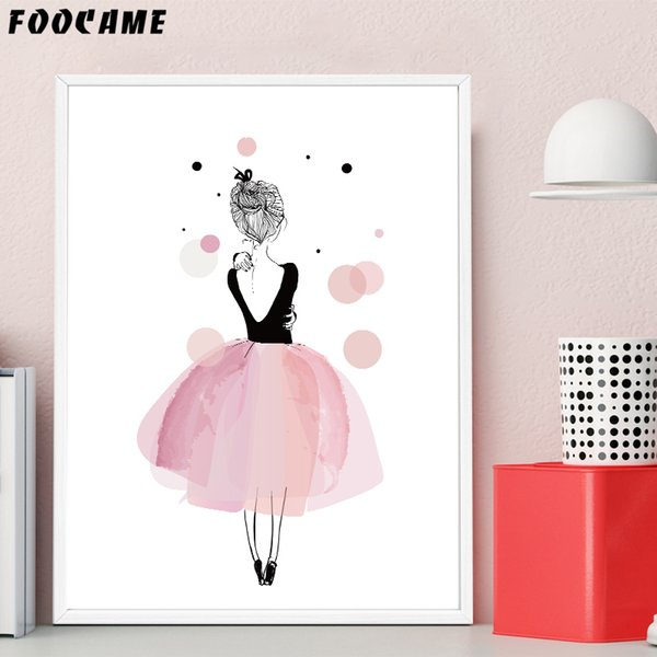FOOCAME Cartoon Girls Pink Skirt Dancing Wing Posters and Prints Art Canvas Painting Home Wall Pictures for Girl Room Decoration