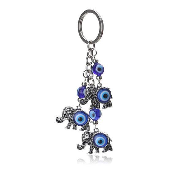 Blue Evil Eye Charms Keychain Elephant Pendent Key Chain Alloy Tassel Car Key Chain Fashion Jewelry Gifts