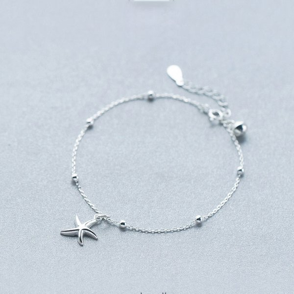La MaxZa 925 Sterling Silver Bell Star Starfish Pendants Bracelets for Women Girls Sea Star Charm Bangles Friendship Simple Gift
