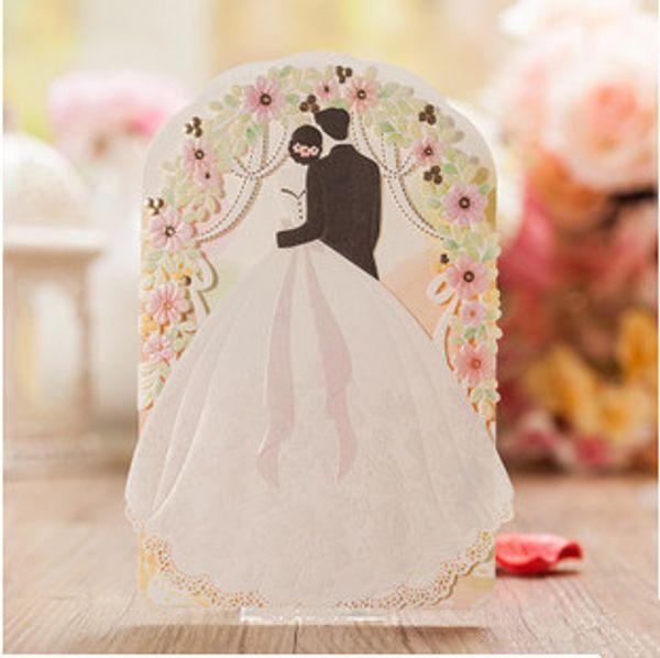 2015 yeni tasarım renkli çiçek lazer kesim gelin damat düğün davetiyesi kartı davetiyeleri kartları ile ücretsiz kargo 30 adet / grup
