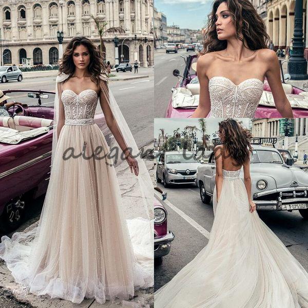 Julie Vino abiti da sposa con perline in rilievo con avvolgere il capo Beach Backless scollo a cuore Vestido De Novia abiti da sposa corsetto di pizzo