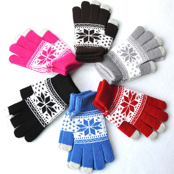 Adult Winter Warm Jacquard Touch Screen Gloves Snowflake Flower Maple Pattern Gloves For Women Men 9 Styles Support FBA Drop Shipping H919Q