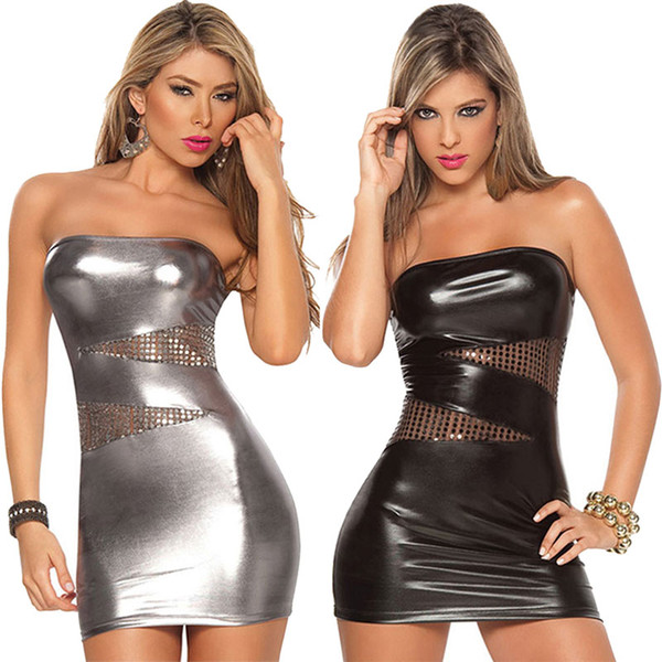 New Women Sleeveless Sexy Patent Leather Bodycon Strapless Lure Clubwear Party Stripper Mini Dress -MX8