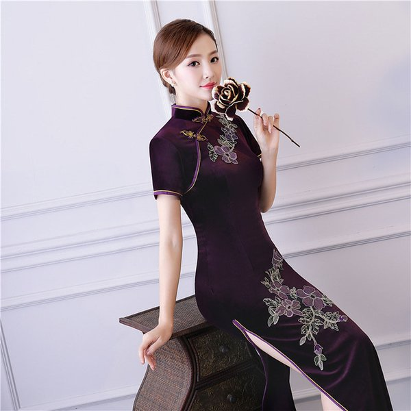 MLBHUT 2018 Women Cheongsam Chinese Red Dress Bodycon Party Evening Cocktail Traditional Lace Qipao Pleuche 3d Pattern Embroider Cheongsam