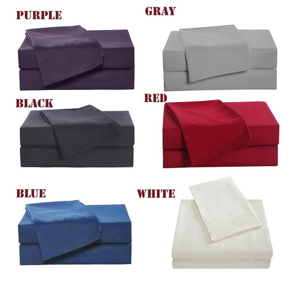 4pcs Family Bedding Set Include Bed Fitted Sheet Flat Sheet Two Pillowcase Soft Skin-Friendly Plain Bedding Set