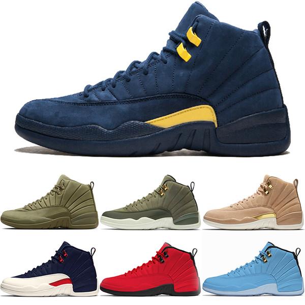 Acheter Nike Air Jordan 12 Retro Designer 12 12s Hommes Chaussures De Basketball CP3 Classe De 2003 Michigan College Navy Bulls Université Bleu PSNY