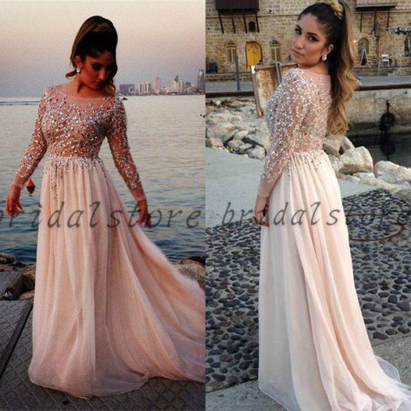 Glamorous Elie Saab Evening Dresses Lebanon Aline Top Beaded Illusion See Through Long Sleeve Prom Dresses Bateau Neck Full Length Chiffon