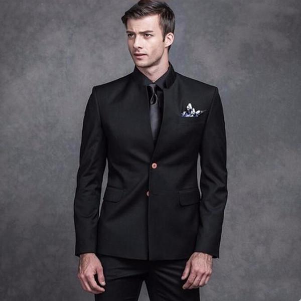 Latest Stand Collar Men Suits Black Wedding Suits Bridegroom Wear Custom Made Slim Fit 2Piece Best Man Tuxedos Blazer Terno masculino