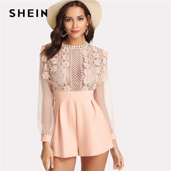 best service 60% discount world-wide renown 2019 SHEIN Pink Pastel Floral Lace Rompers Womens Jumpsuit Sexy Jumpsuits  High Waist Wide Leg Applique See Through Bodice Romper From Seein, $39.35 |  ...