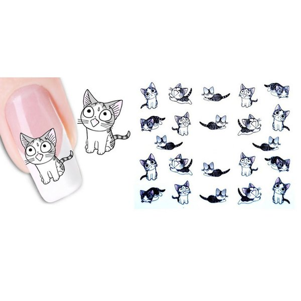 Cartoon Tiere Wassertransfer 3D Nette Katze Haustiere Muster Nagel Aufkleber Voll Wraps Maniküre Decals DIY Nail art Aufkleber 70