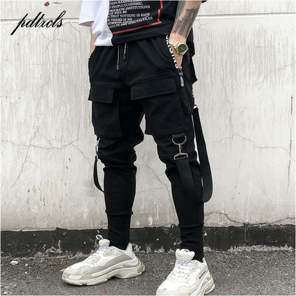 49Hot Yan Cepler Kalem Pantolon erkek Hip Hop Patchwork Kargo Ripped Sweatpants Joggers Pantolon Erkek Moda Tam Boy Pantolon