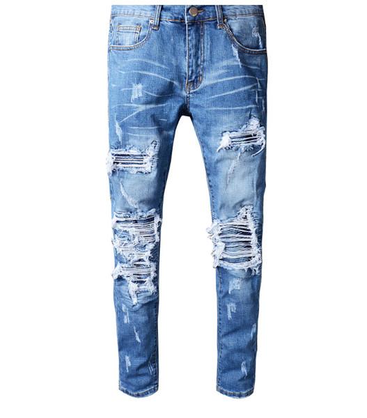 Nova qualidade superior rasgado calças de brim dos motociclistas mens marca afligida calças compridas calças jeans moda rua fino blue jeans plus size