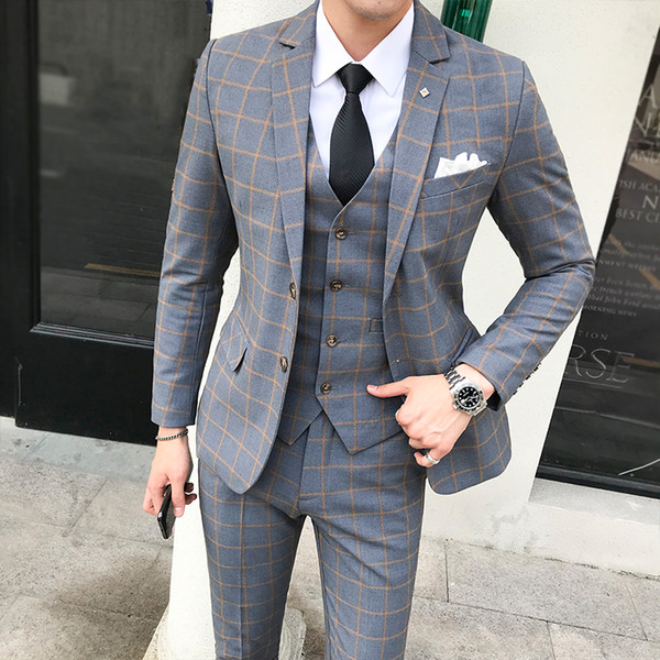 Suit Men Autumn And Winter New British Style Large Size Plaid Suits Formal Wear Gift Single-breasted Mens Wedding Suit