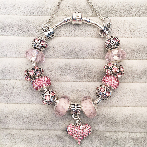 No Logo Bracelets Charms Beads Fits Original Bracelets Rhinestones DIY Fashion Jewelry Valentine's Present Pink Loveheart