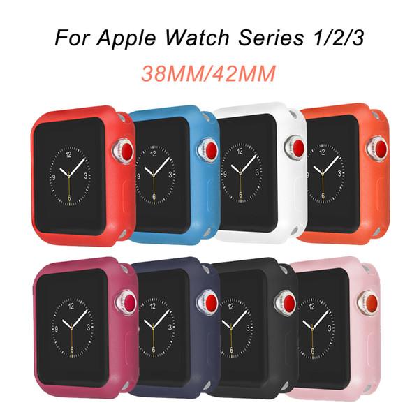 NOVITÀ Custodia morbida in silicone resistente alla caduta per Apple Watch Serie iWatch 1 2 3 Cover Frame Full Protection Cinturino 42mm 38mm