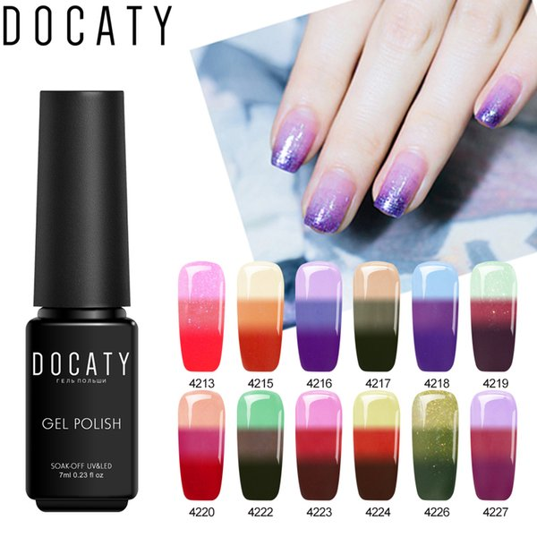 Docaty For Manicure Permanent Enamels Gel Nail Polish Temperature Change Color Uv Gel Nail Art Thermal Hybrid Lacquer Xl Nail Gel How To Remove Nail
