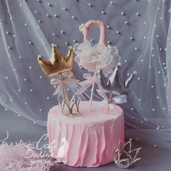Silver Pink Gold Crown Swan Fios Pérola Arco-nó Bolo Topper para Decoração Do Partido Sobremesa linda Presentes