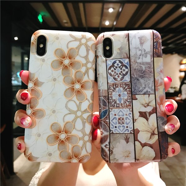 New Design Fashion IMD Marble Case Flower Pattern Soft TPU Rainbow Style Mobile Phone Cases for iPhone X 6 6S 7 8 Plus