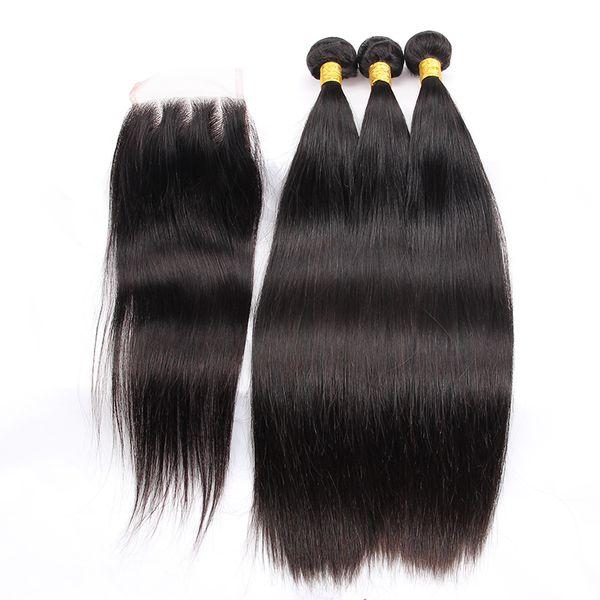 Peruanisches glattes Haar 3 Bundles mit Verschluss Doppeleinschlagfaden Remy Menschenhaar Bundles mit Verschluss