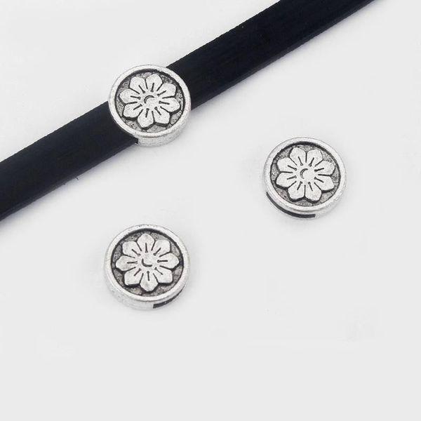 10 Antik Gümüş A2 Çiçek Slider Paspayı 10x2mm Için 5mm 10mm Düz Deri Kordon Takı Aksesuarları
