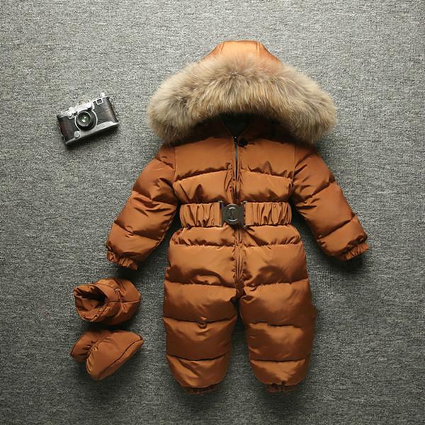 top popular 2018 Winter Baby Warm Romper Infant Children Snowsuit Outerwear Newborn Girl And Boys Jumpsuit Snow Overalls Fur Hood 2020