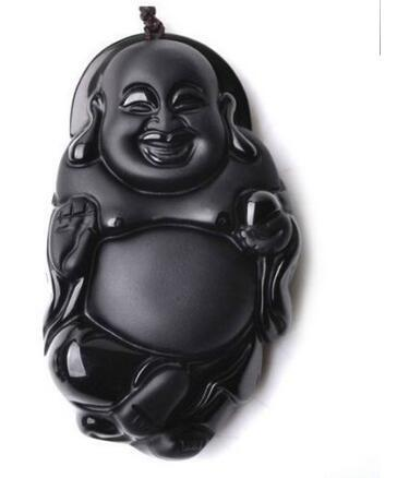 100% Natural obsidian pendant necklace Laughing Buddha
