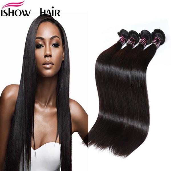 Perulu Hint Maylasian Işlenmemiş Bakire Saç Ipeksi Düz Saç 4 Demetleri Ishow En 8A Saç Örgü 8-28 inç Sıcak Satış Ücretsiz Nakliye