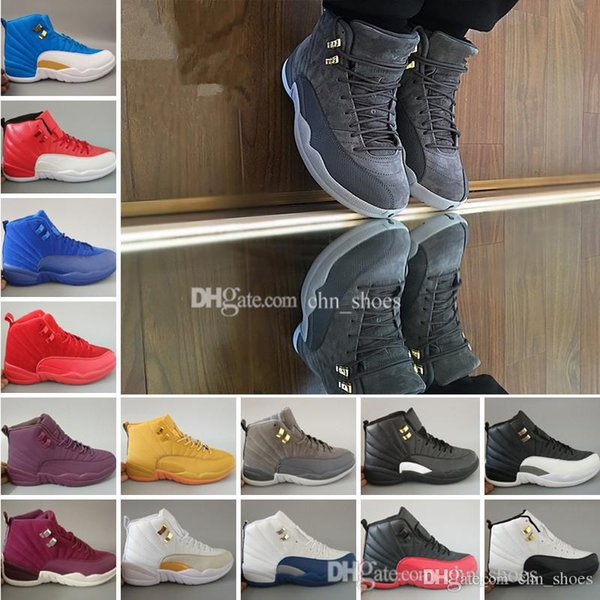 12 mens basketball shoes Bordeaux Dark Grey white Flu Game Gym red playoffs taxi gamma french blue Suede Barons University blue us8-13