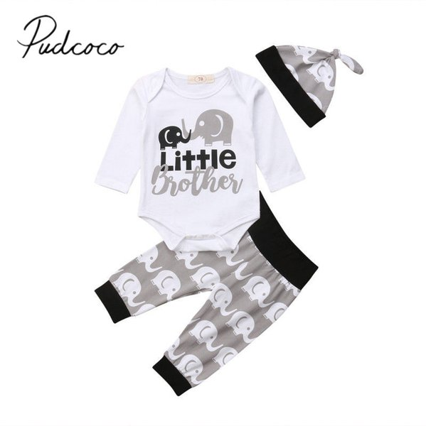 2018 Brand New Newborn Infant Baby Boys Clothes 3PCS Long Sleeve Letter Tops Romper Elephant Pants Leggings Hats Outfits Clothes
