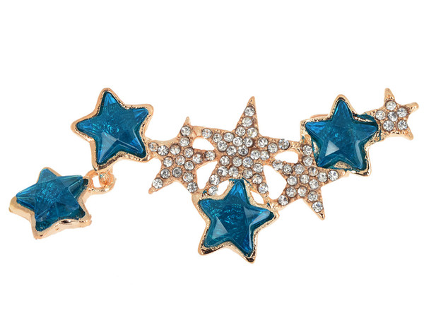 1PC Hot Fashion Sweeps Clear Blue Crystal Star Ear Cuff Left Clip On Cartilage Ear Cuff Punk Earring Women Jewelry Drop Free