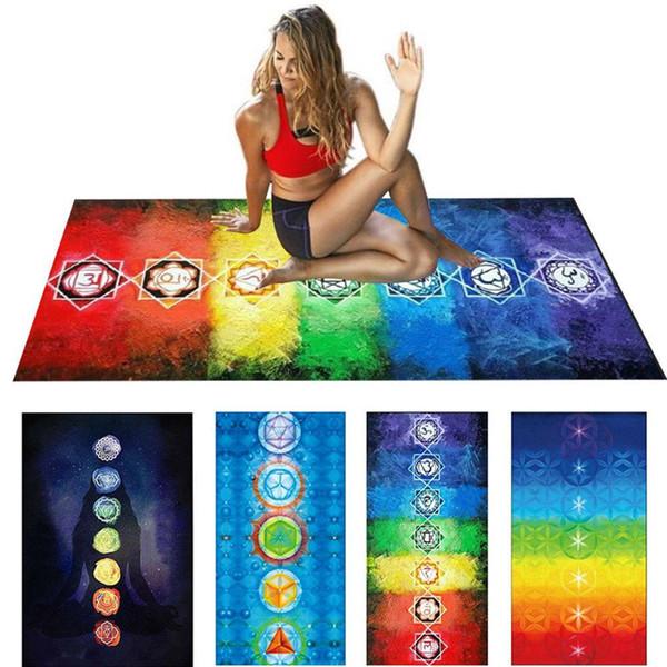 4 teile / los 7 Chakra Mandala Böhmen Hängende Decke Tapisserie Sommer Strandtuch Yoga Matte Hängende Decke