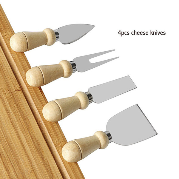 best selling 4pcs set Cheese Knife Set Stainless Steel Cheese Knife Wood Handle Butter Cutter Cheese Tool Set LZ0851