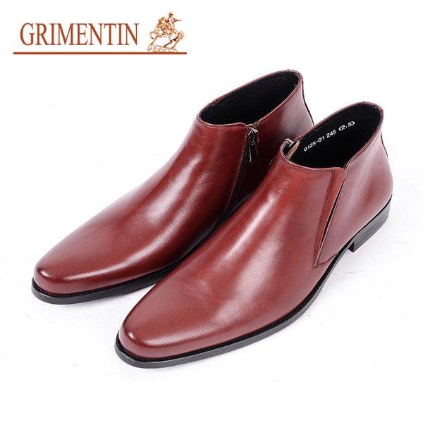 Mit Marke Leder Herren Großhandel Grimentin Hochwertigem Braun Männer Business Reißverschluss Schuhe Verkauf Heißer Stiefeletten Formal Schwarz c5SRA34jLq