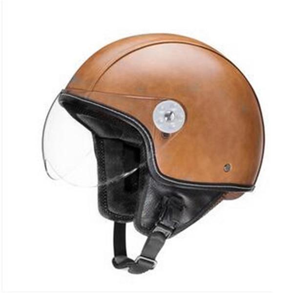 STORM MOTORCYCLE SCOOTER BIKE OPEN FACE/HALF FACE HELMET CLASSIC BLACK PU leather M L XL XXL